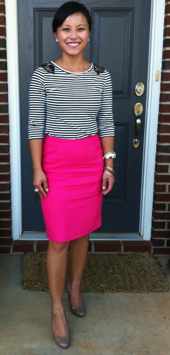 hot pink pencil skirt, sequin top, sequin shirt, arm party, thrifted skirt