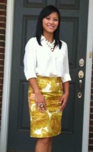 floral pencil skirt, petite skirt, camp shirt, Ann Taylor camp shirt