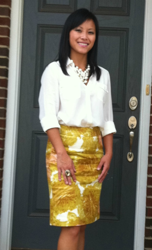 floral pencil skirt, petite skirt, camp shirt, Ann Taylor camp shirt