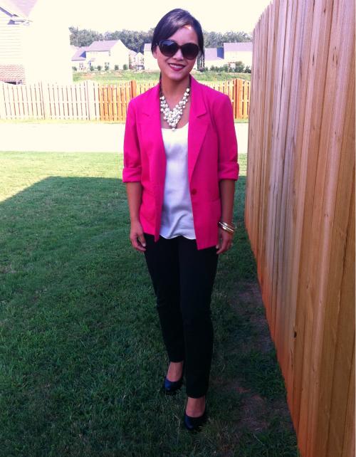 hot pink blazer, skinny pants, black skinny pants, zara pink blazer, platform heels