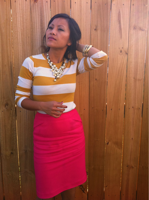 striped tee, color block, hot pink pencil skirt, pencil skirt