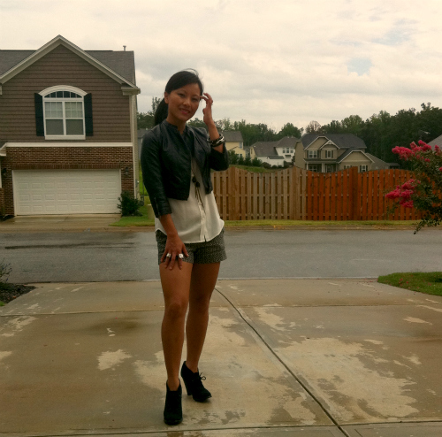 how to wear cropped leather jacket, cropped jacket, leather jacket and shorts
