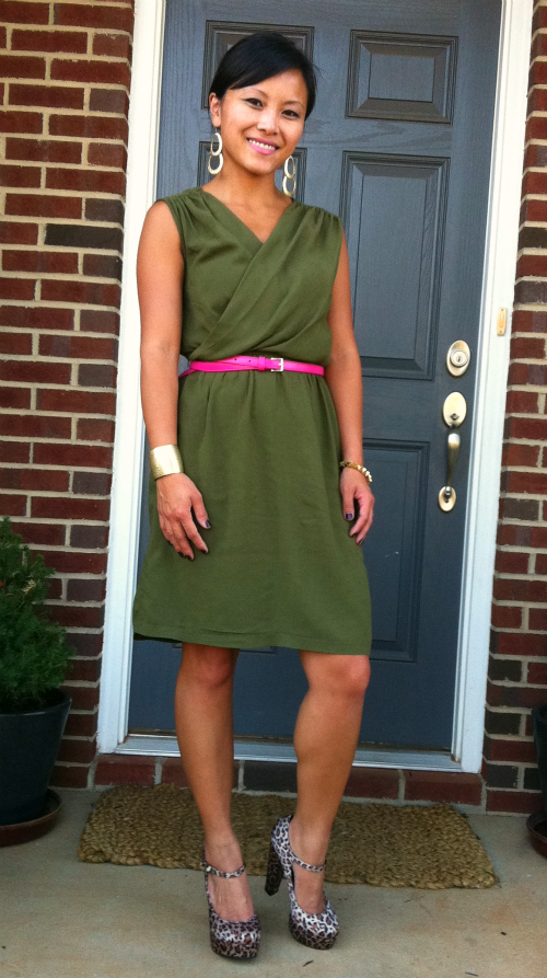 olive dress, olive and hot pink, hot pink belt, leopard print, platform maryjanes