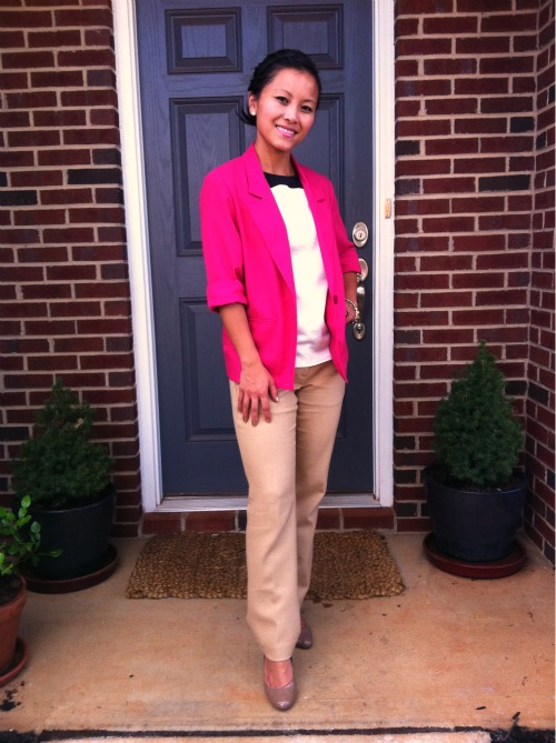 hot pink blazer, zara blazer, hot pinnk and camel, camel pants, wool camel pants
