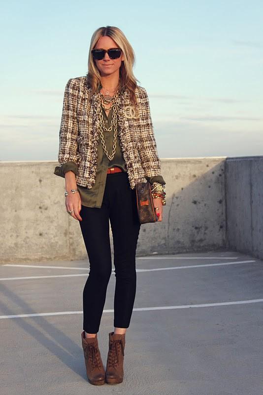 tweed jacket, blouse, cognac booties