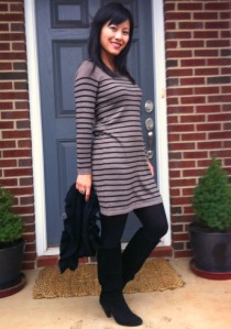 sweater dress, striped sweater dress, sweater dress and boots, black suede boots