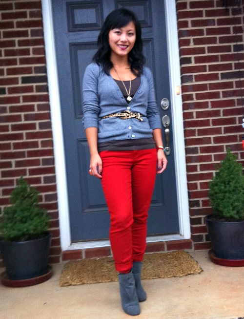 rust colored pants, leapard print, leopard print belt, red and gray, suede booties, wedge booties