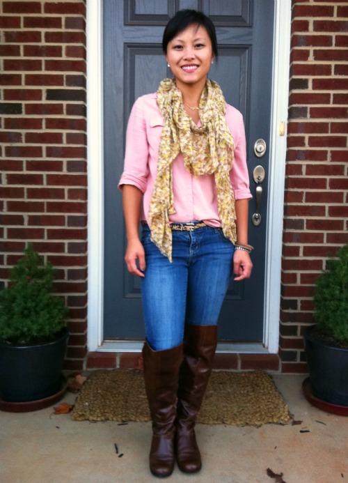 cognac boots, loft camp shirt, loft blouse, pink blouse, OTK boots, OTK boots with jeans