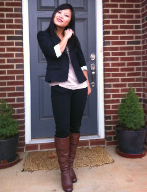 Wearing: An easy look with Ann Taylor and brown boots | My