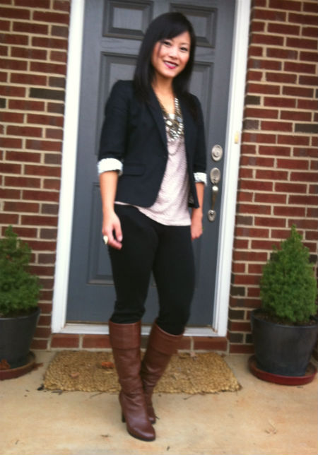 knee high boots, brown boots, black skinny pants, blazer with boots