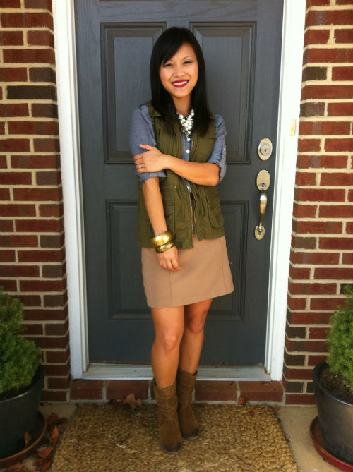 ankle boots, chestnut boots, khaki skirt, chambray shirt