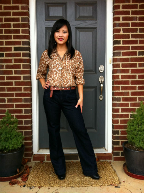 leopard blouse, denim trousers, platform booties