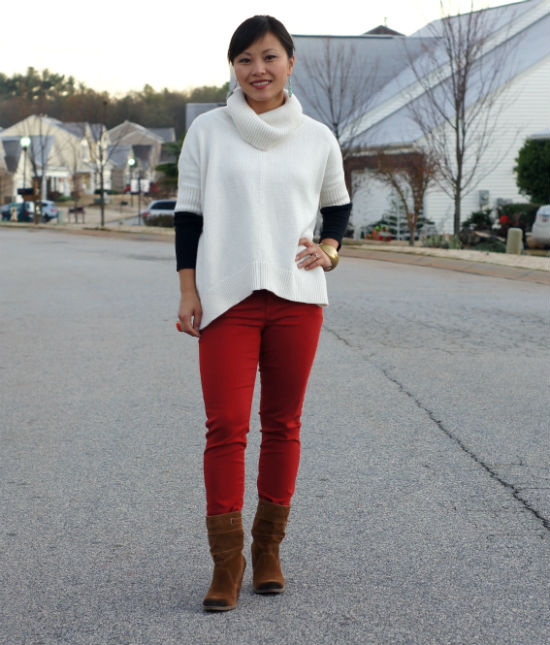 cowl neck sweater, white poncho, ankle boots