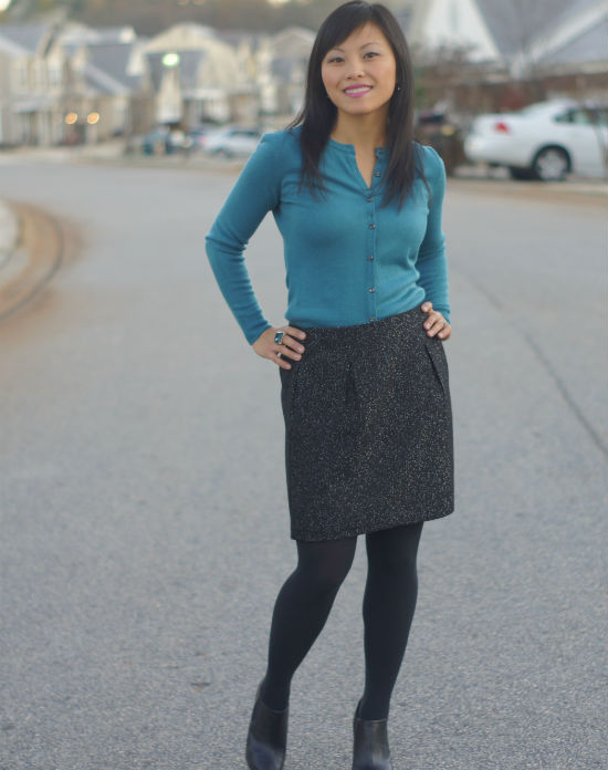 metallic tweed skirt, ankle boots with tights