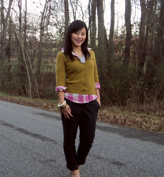 pink plaid, pink and mustard, wool trousers