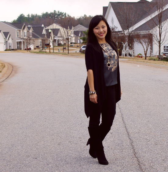 skinny black pants with boots, black suede boots, skinny black pants, Ann Taylor skinny pants
