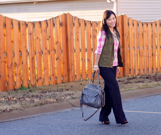 Old Navy pink buffalo shirt, pink plaid, trouser jeans, Mimi Boutique Nadia satchel