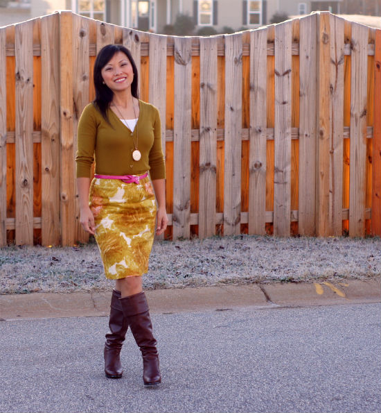 pencil skirt with boots, cognac boots, pencil skirt with cardigan, tucked in cardigan