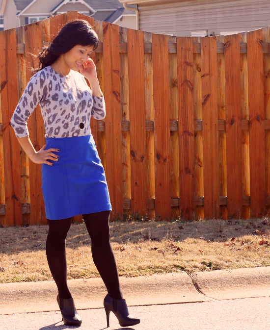 Ann Taylor Ponte Knit Skirt, cobalt blue pencil skirt, leopard print sweater, pencil skirt with ankle boots, ankle booties