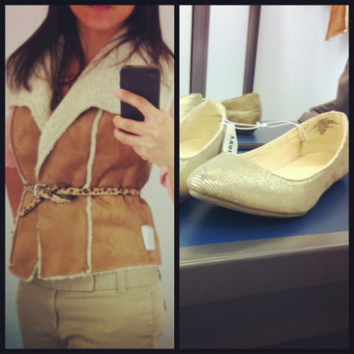 Old Navy Shearling Vest, pointy toe flats
