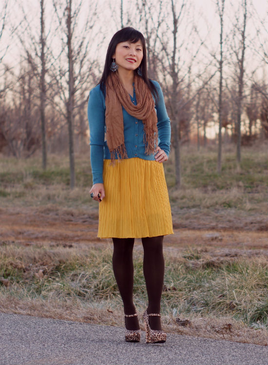 mustard skirt, dress as skirt, mustard and teal outfit, leopard print shoes