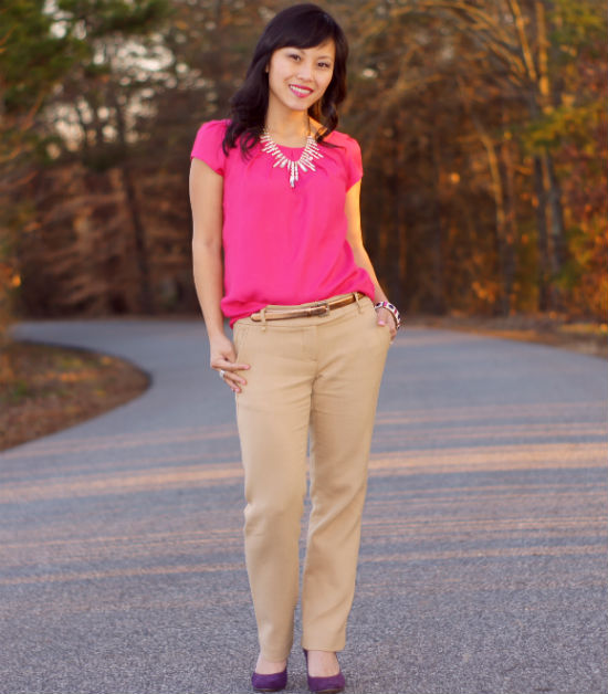 jewel tone outfit, pink and purple, how to wear jewel tones, hot pink top, hot pink shirt, hot pink blouse
