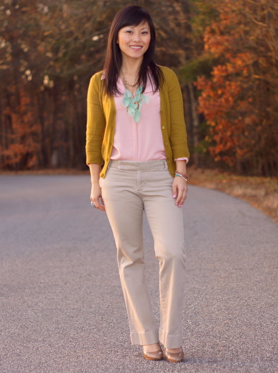 pastels, mint and blush, blush toned blouse