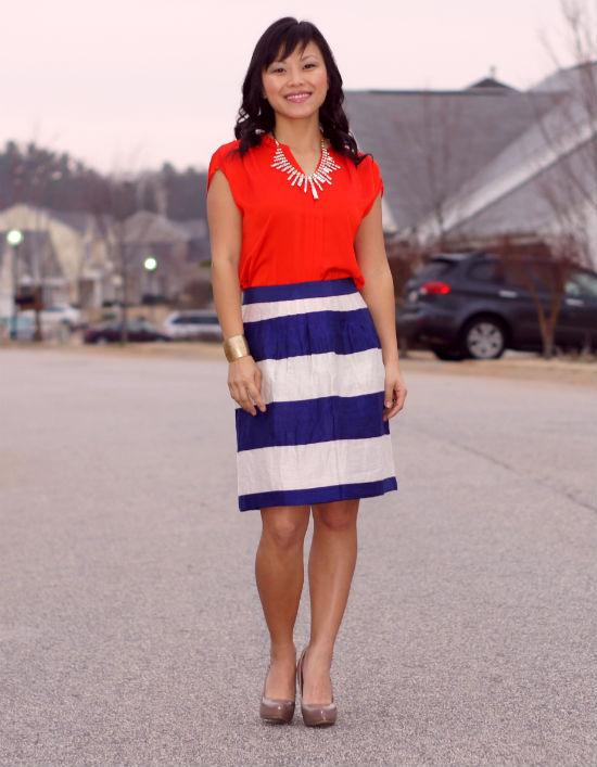 wide striped skirt, color block stripe skirt