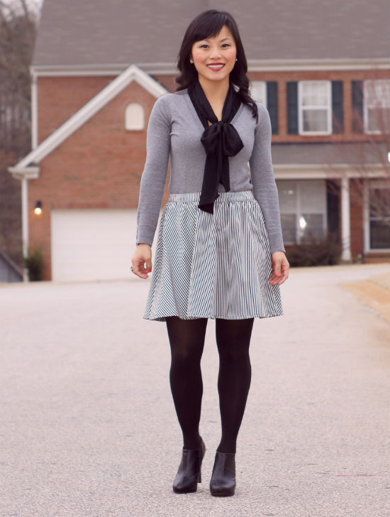striped skirt, stripe skirt, skirt with tights, skirt with ankle boots, bow blouse and cardigan