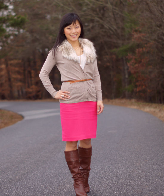 pink pencil skirt, pencil skirt with boots, fur trimmed sweater, fur trimmed cardigan, cardigan with pencil skirt