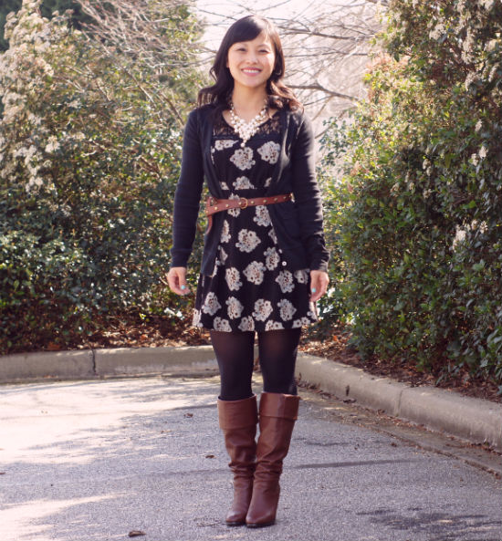 floral sweater dress, floral print dress, cardigan over dress, studded belt, cognac boot, pearl bib necklace