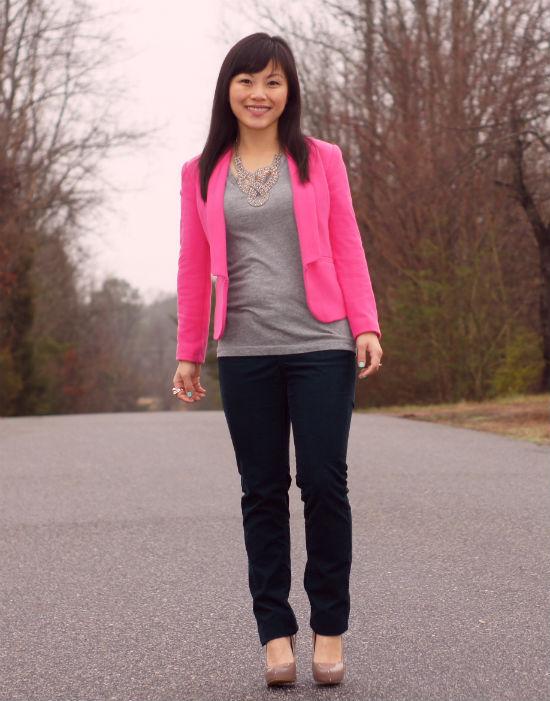 hot pink blazer, H&M pink blazer
