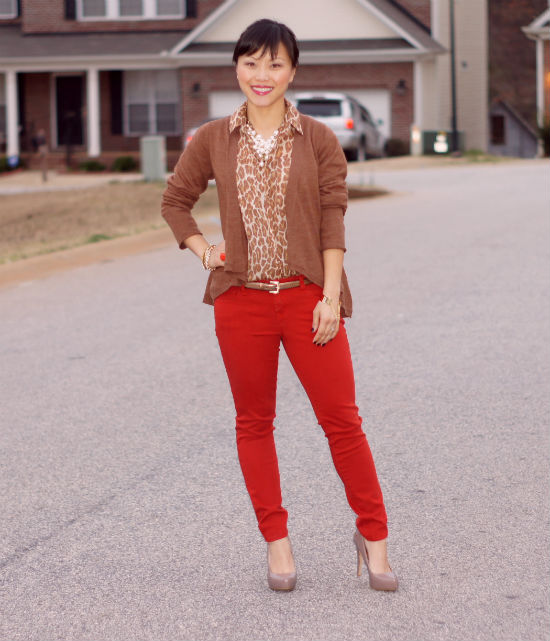 leopard blouse, rust skinny pants