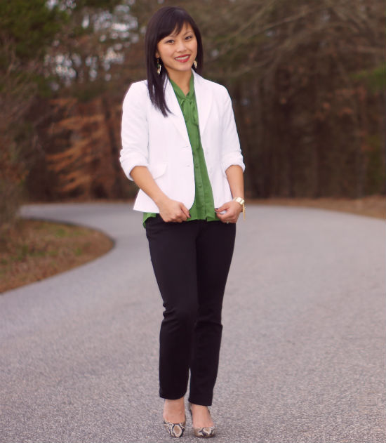 white blazer, bow blouse, green bow blouse, snakeskin pumps,