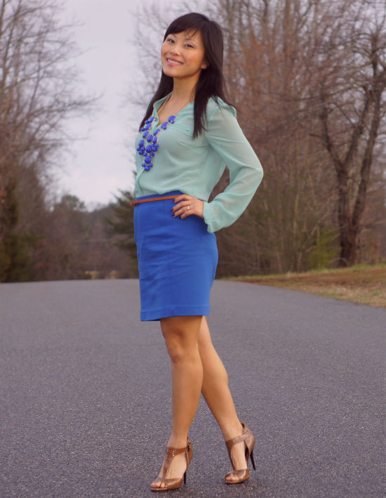 mint green blouse, sheer blouse, cobalt skirt