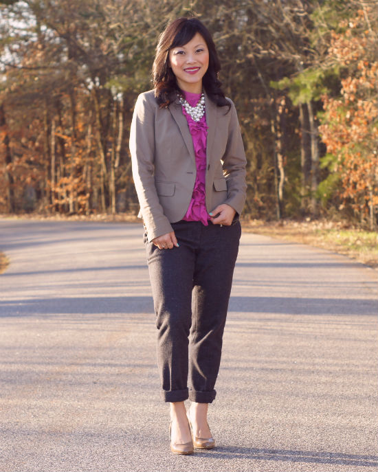 ruffled shell, taupe bllazer, wool ankle pants, nude pumps, pearl bib necklace