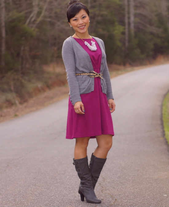 sheath dress with cardigan, sheath dress with boots, leopard print belt