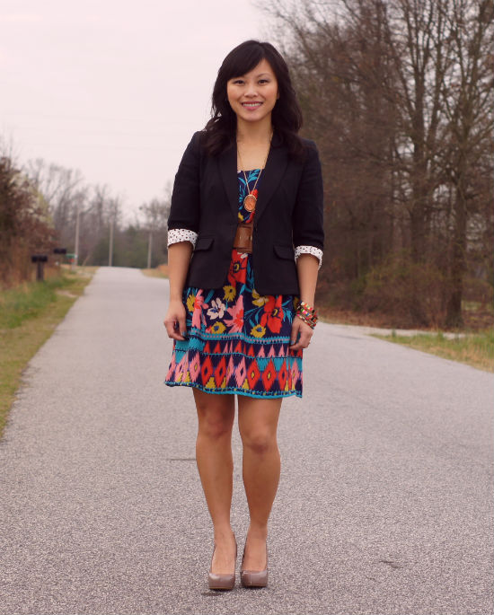 blazer with dress, floral print dress, target xhilaration dress, summer dress, tribal jewelry, tribal print dress