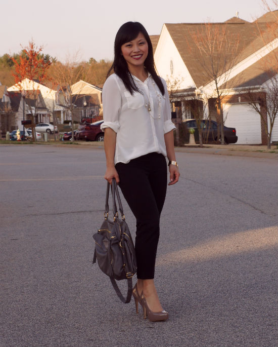white blouse, camp shirt, slim ankle pants, black ankle pants, nude pumps, how to wear
