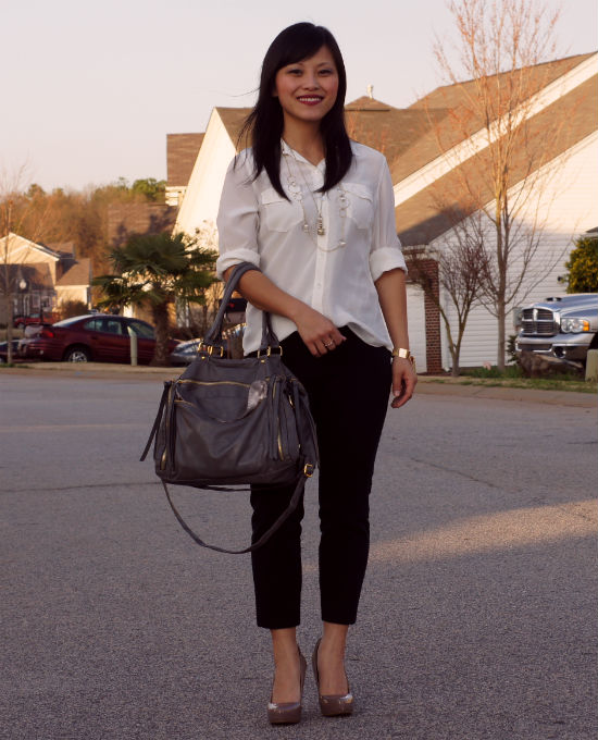 how to wear, white blouse, black ankle pants, camp shirt, Ann Taylor camp shirt, silk shirt, nude pumps, pointy toe heels