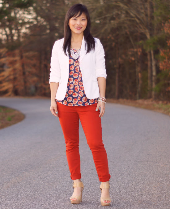 Forever 21 white blazer, colored jeans, floral tank, sleevless tank, platform sandals, Chinese Laundyr Sassyfras