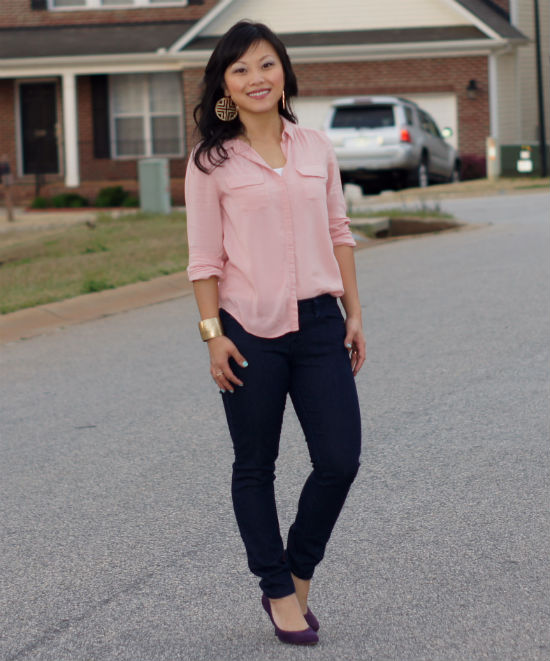 blush colored blouse, skinny jeans, casual friday, gold cuff