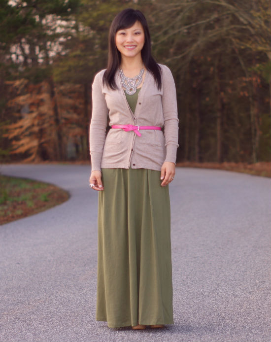 maxi dress as a skirt, olive maxi dress, cardigan over maxi dress