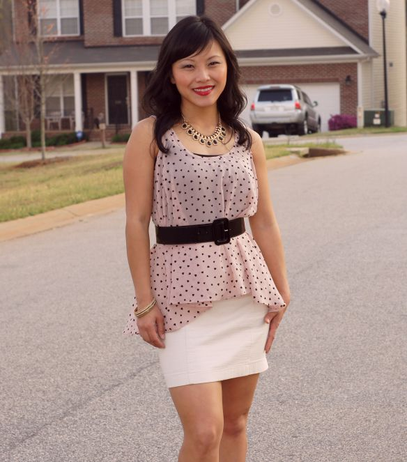 hi low tank top, polka dot top, pastel tank top, peplum
