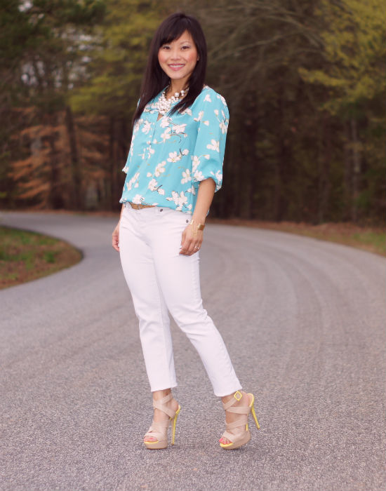 loft eastern floral blouse, robin egg blue, white jeans, nude heels, nude and yellow heels