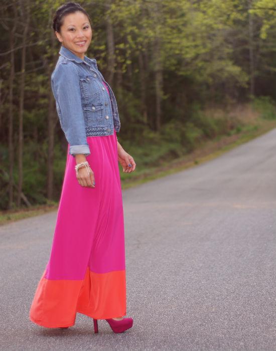 old navy color block keyhole dress, dress with denim jacket, pink and orange colorblock