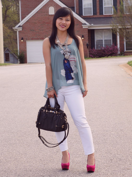 white jeans, fuchsia pumps, Target Paisley, Mimi Boutique Mia Satchel, sheer tank, seafoam and white