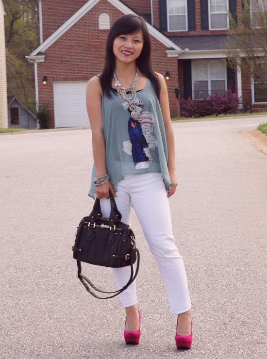 white jeans, fuchsia pumps, Target Paisley, Mimi Boutique Mia Satchel, sheer tank, seafoam and white