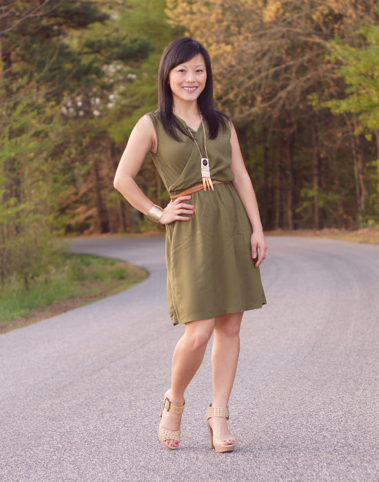 olive dress, draped dress, tribal jewelry, nude platforms, perforated platforms