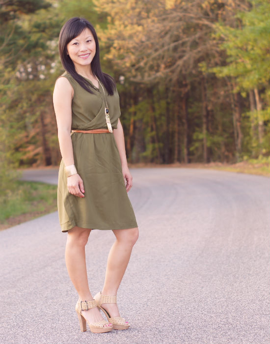 olive dress, nude platfrom sandals, perforated leather sandals